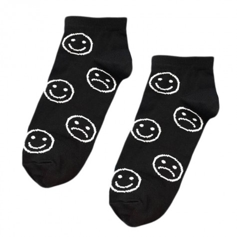 """Шкарпетки чорні """"Смайли"""" короткі Sunny Focks"""