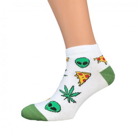 """Шкарпетки білі """"Alien Pizza Weed"""" короткі Sunny Focks"""
