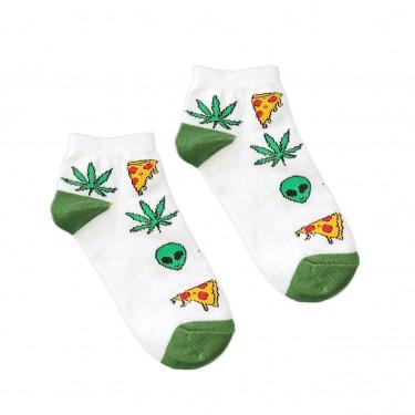 "Носки белые ""Alien Pizza Weed"" короткие Sunny Focks"