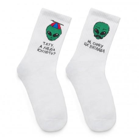"""Шкарпетки білі """"Сімейка прибульців"""" Sunny Focks"""