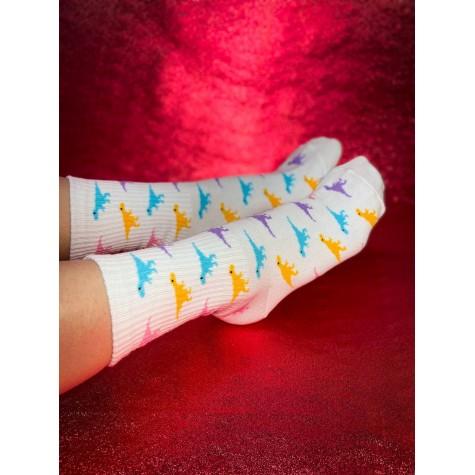 """Шкарпетки білі """"Кольорові Діно"""" Sunny Focks"""